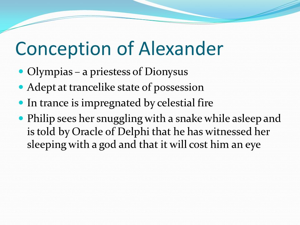 Conception of Alexander