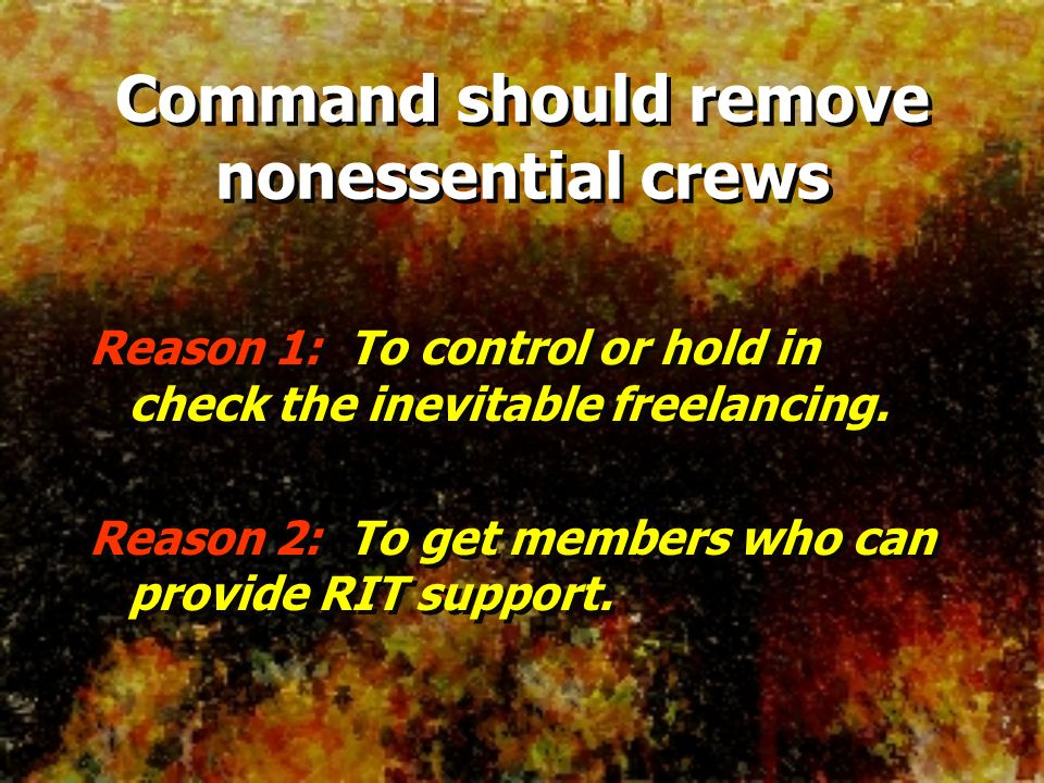 Command should remove nonessential crews