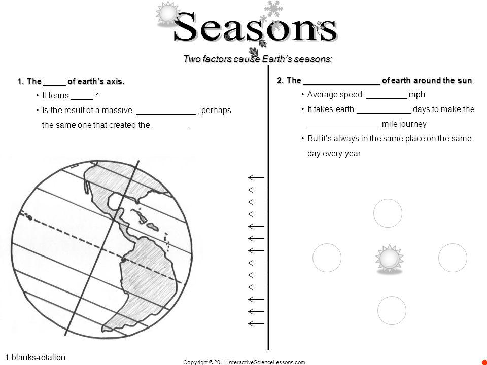 Seasons Two factors cause Earth's seasons: