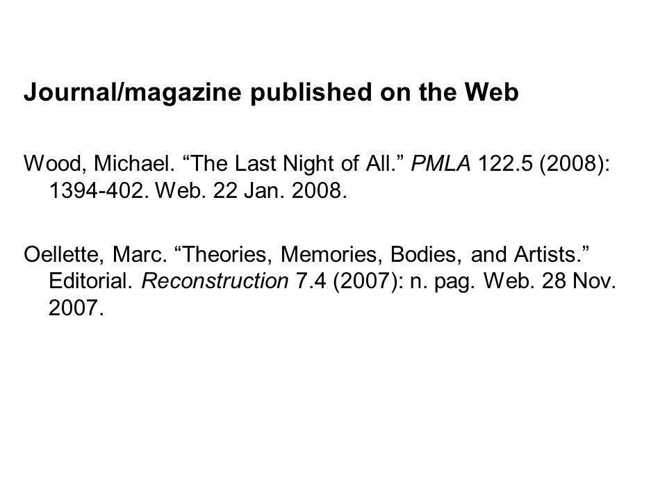 Journal/magazine published on the Web