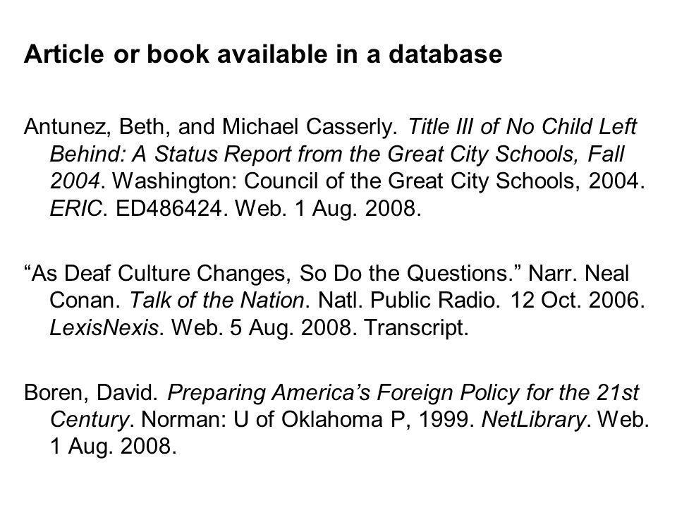 Article or book available in a database