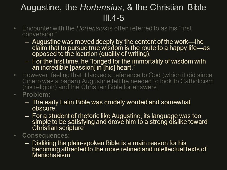 Augustine, the Hortensius, & the Christian Bible III.4-5