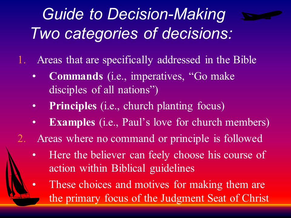 Guide to Decision-Making Two categories of decisions: