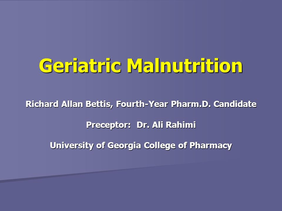 Geriatric Malnutrition