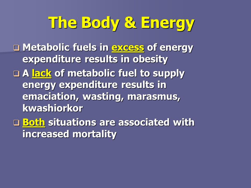 The Body & Energy Metabolic fuels in excess of energy expenditure results in obesity.
