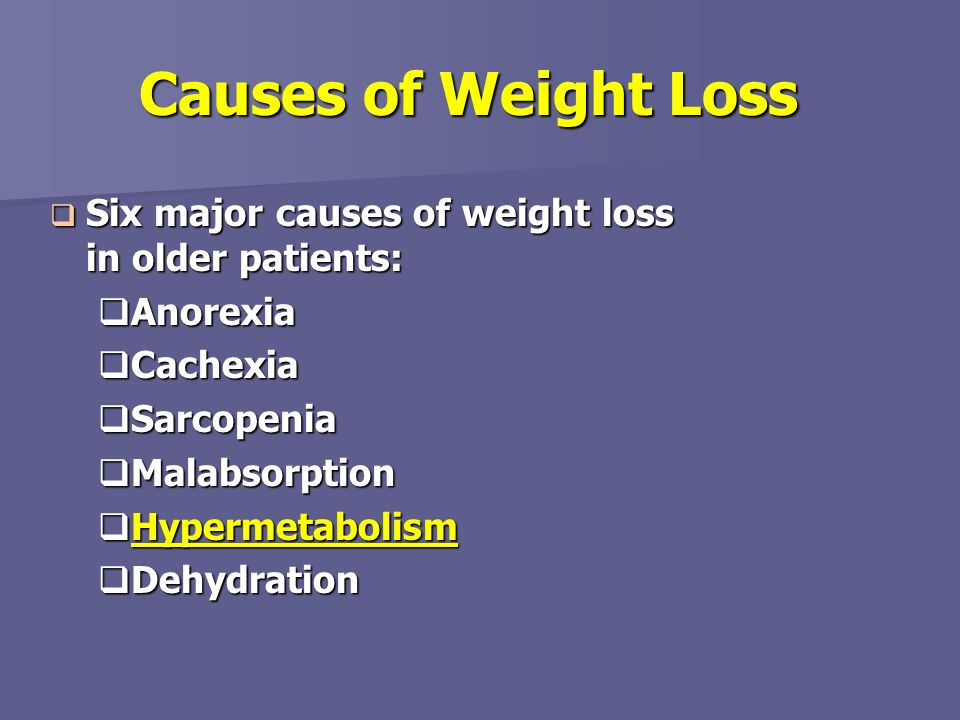 Causes of Weight Loss Six major causes of weight loss in older patients: Anorexia. Cachexia. Sarcopenia.