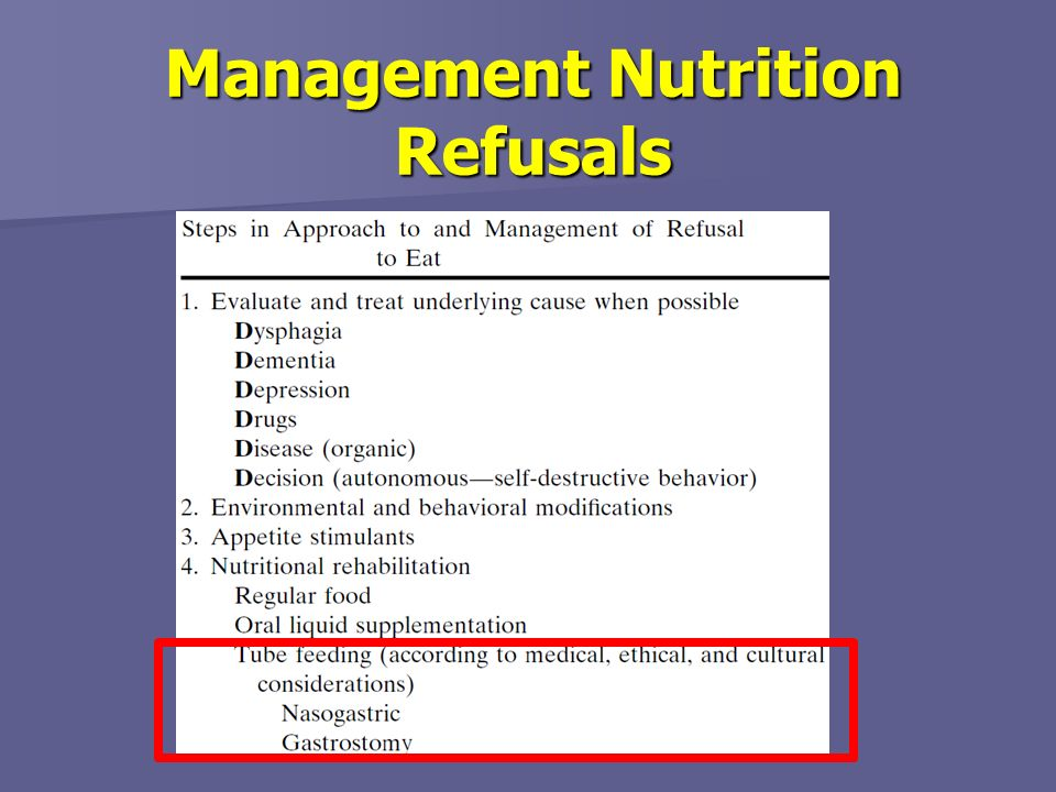Management Nutrition Refusals
