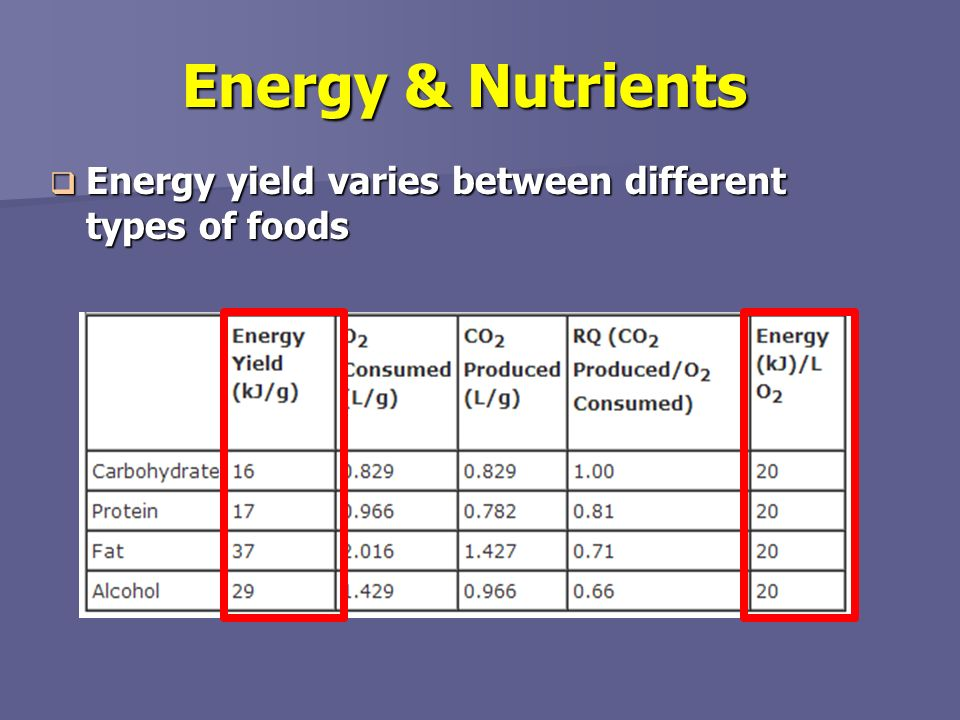 Energy & Nutrients Energy yield varies between different types of foods.