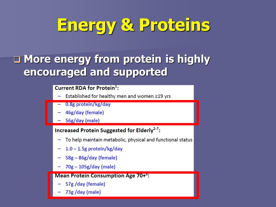 Energy & Proteins More energy from protein is highly encouraged and supported Figure from nestle