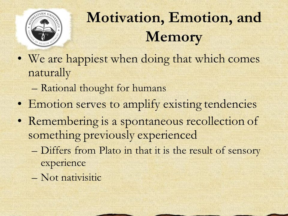 Motivation, Emotion, and Memory