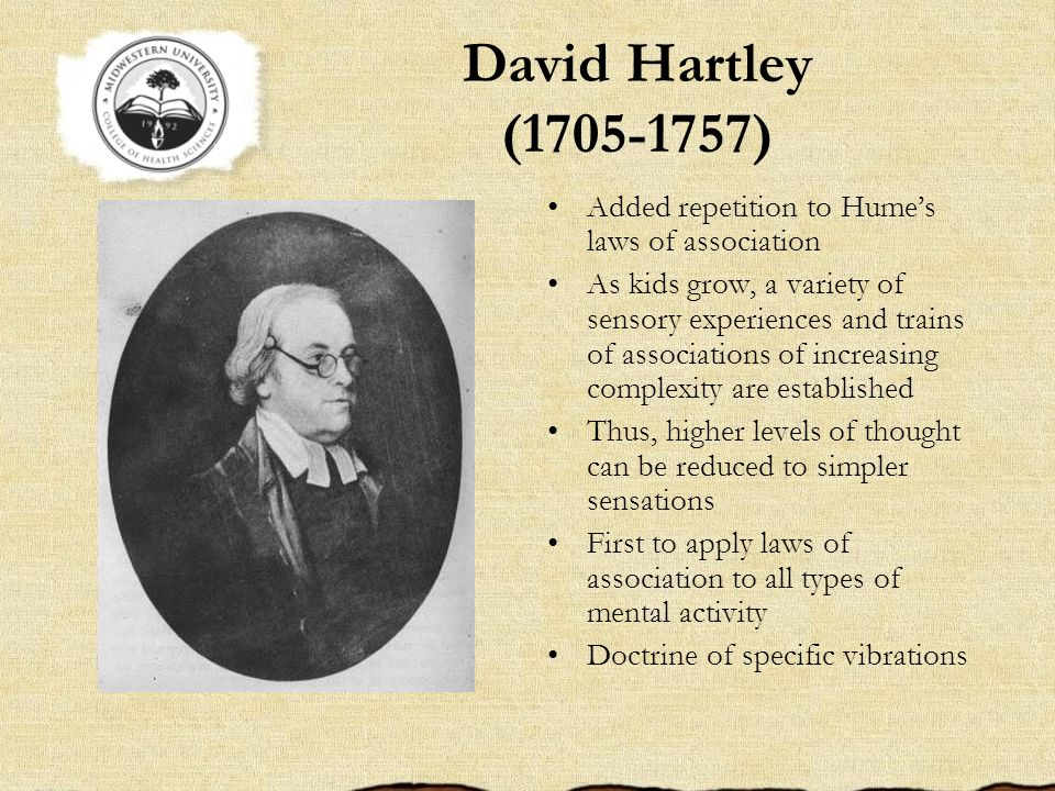 David Hartley (1705-1757) Added repetition to Hume's laws of association.