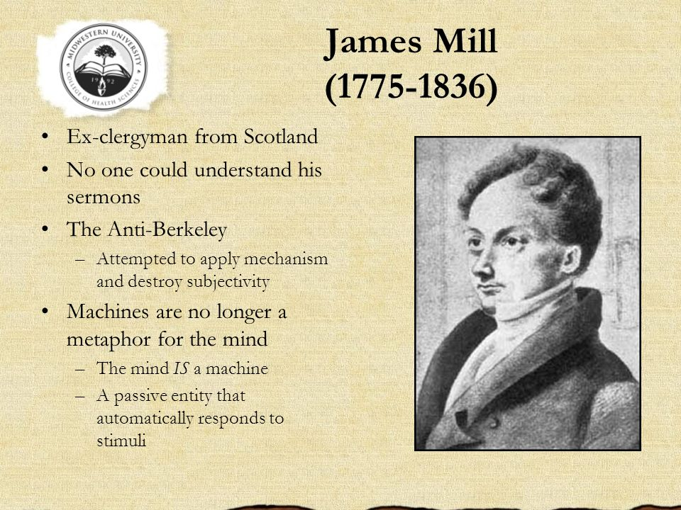 James Mill (1775-1836) Ex-clergyman from Scotland