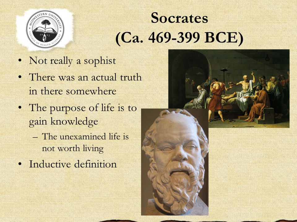 Socrates (Ca. 469-399 BCE) Not really a sophist