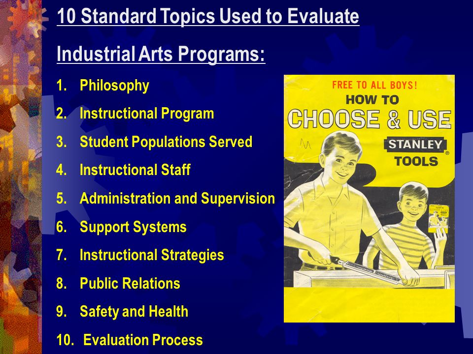 10 Standard Topics Used to Evaluate Industrial Arts Programs: