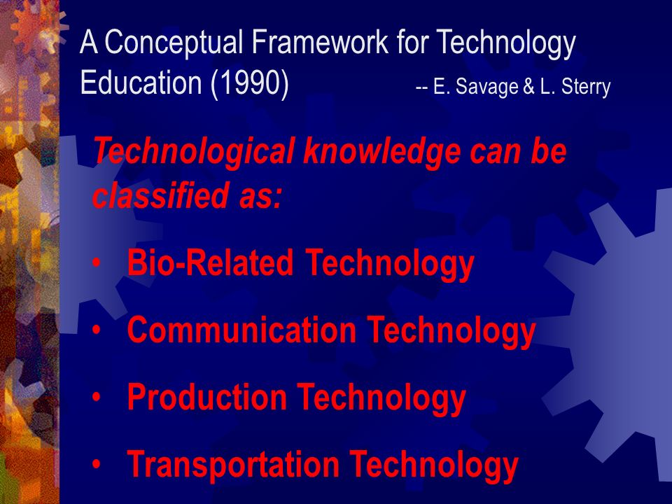 Technological knowledge can be classified as: Bio-Related Technology
