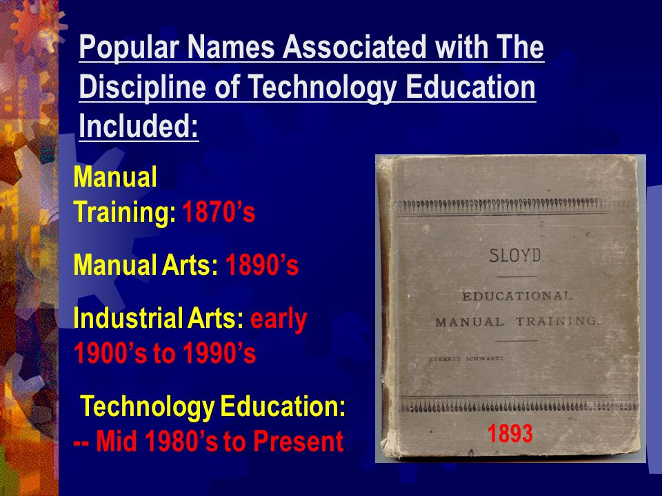 Popular Names Associated with The Discipline of Technology Education Included: