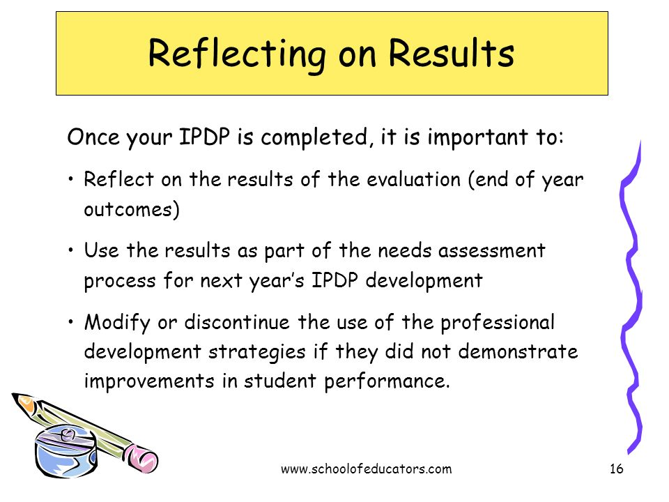 Reflecting on Results Once your IPDP is completed, it is important to: