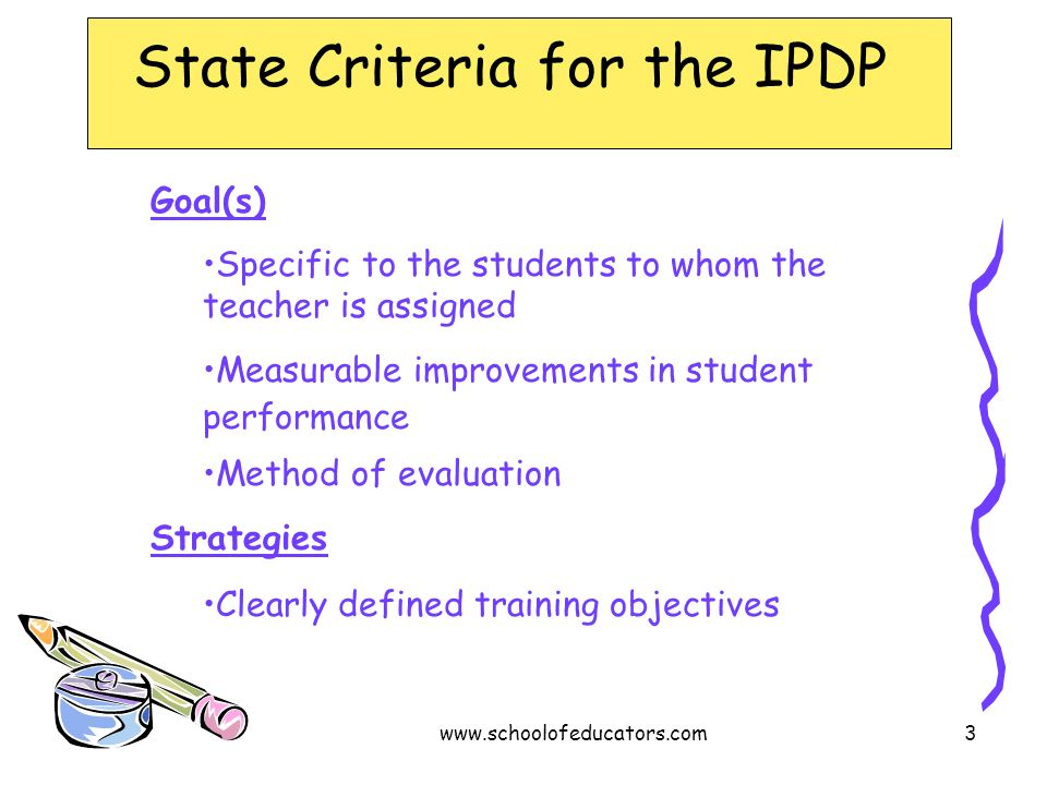 State Criteria for the IPDP