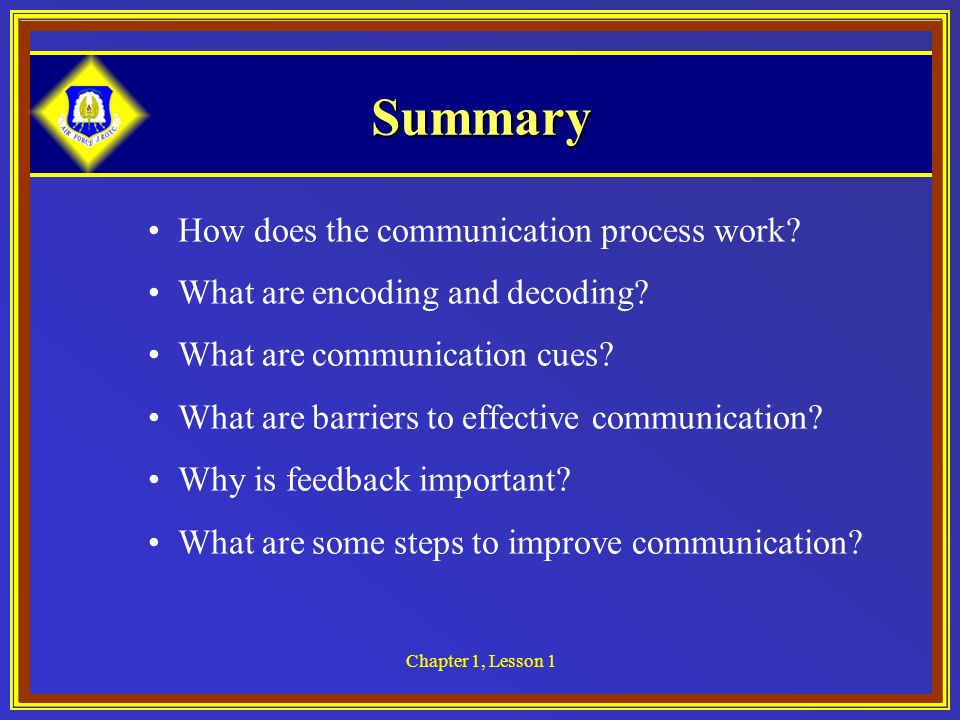 Summary How does the communication process work