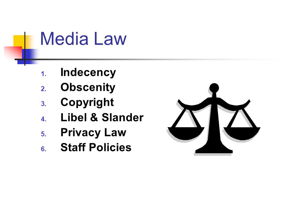 Media Law Indecency Obscenity Copyright Libel & Slander Privacy Law