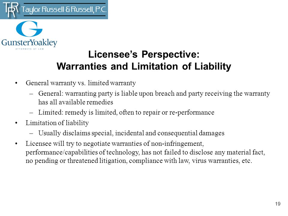 Licensee's Perspective: Warranties and Limitation of Liability