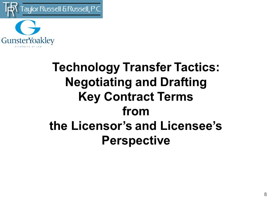 Technology Transfer Tactics: Negotiating and Drafting