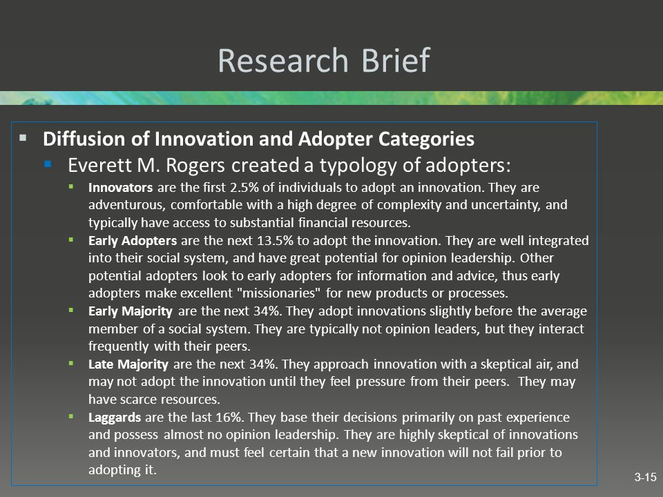 Research Brief Diffusion of Innovation and Adopter Categories