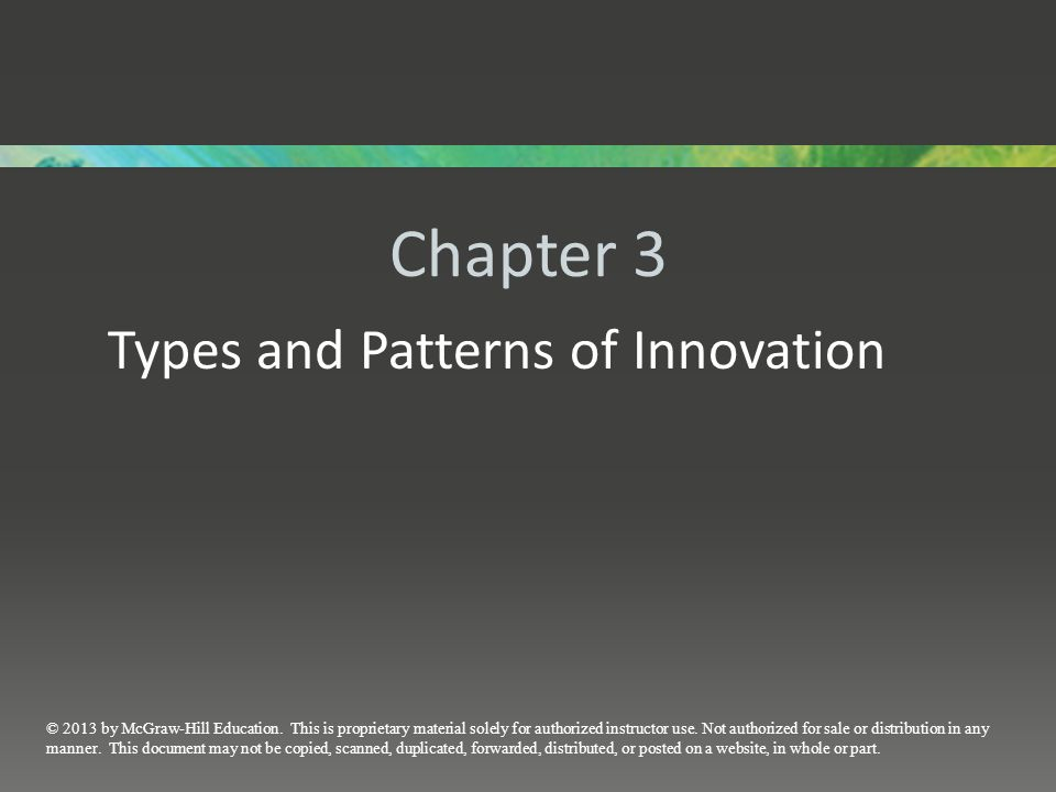 Types and Patterns of Innovation