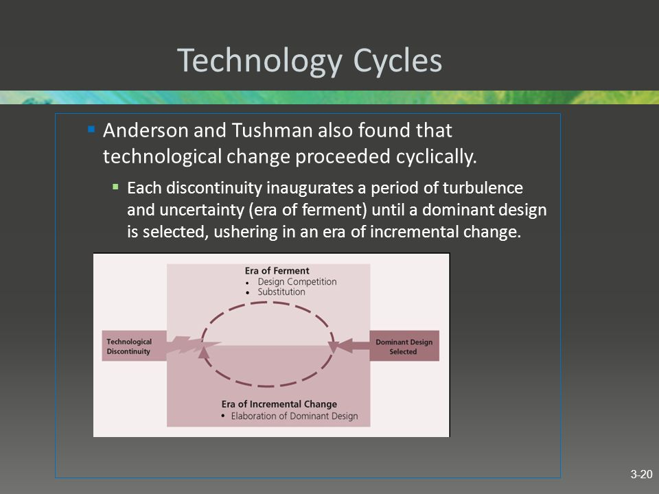Technology Cycles Anderson and Tushman also found that technological change proceeded cyclically.