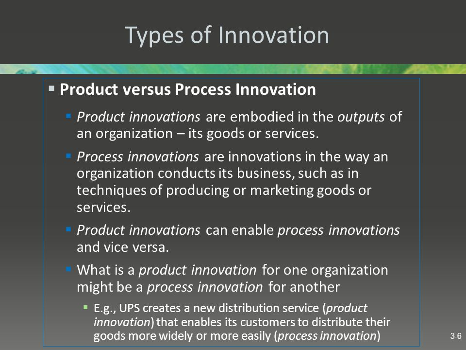 Types of Innovation Product versus Process Innovation