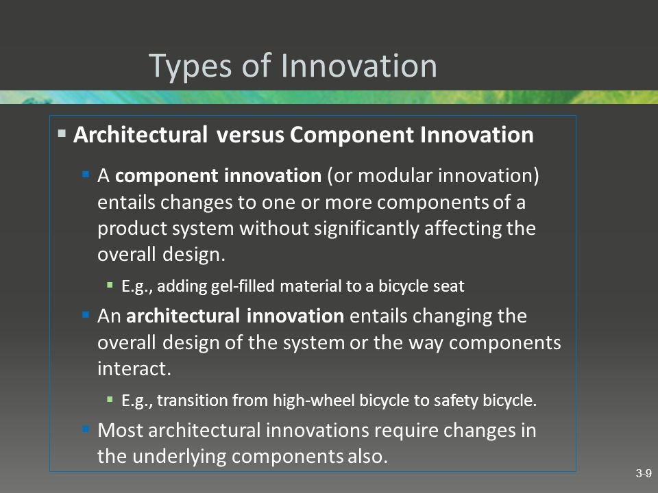 Types of Innovation Architectural versus Component Innovation