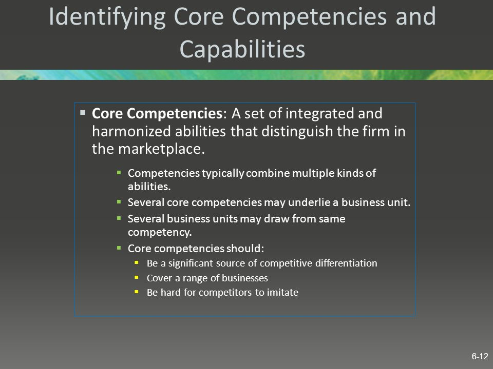 Identifying Core Competencies and Capabilities