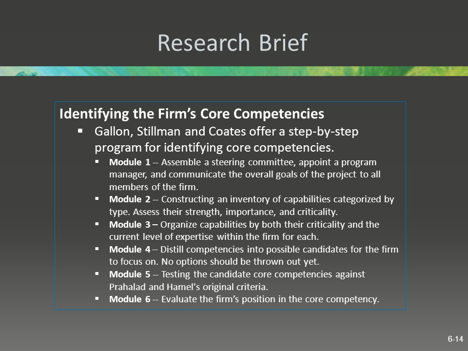 Research Brief Identifying the Firm's Core Competencies