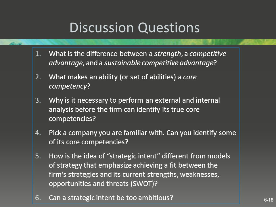 Discussion Questions What is the difference between a strength, a competitive advantage, and a sustainable competitive advantage