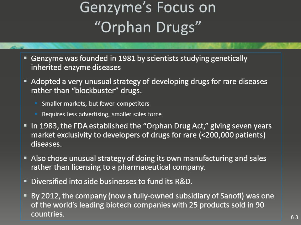 Genzyme's Focus on Orphan Drugs