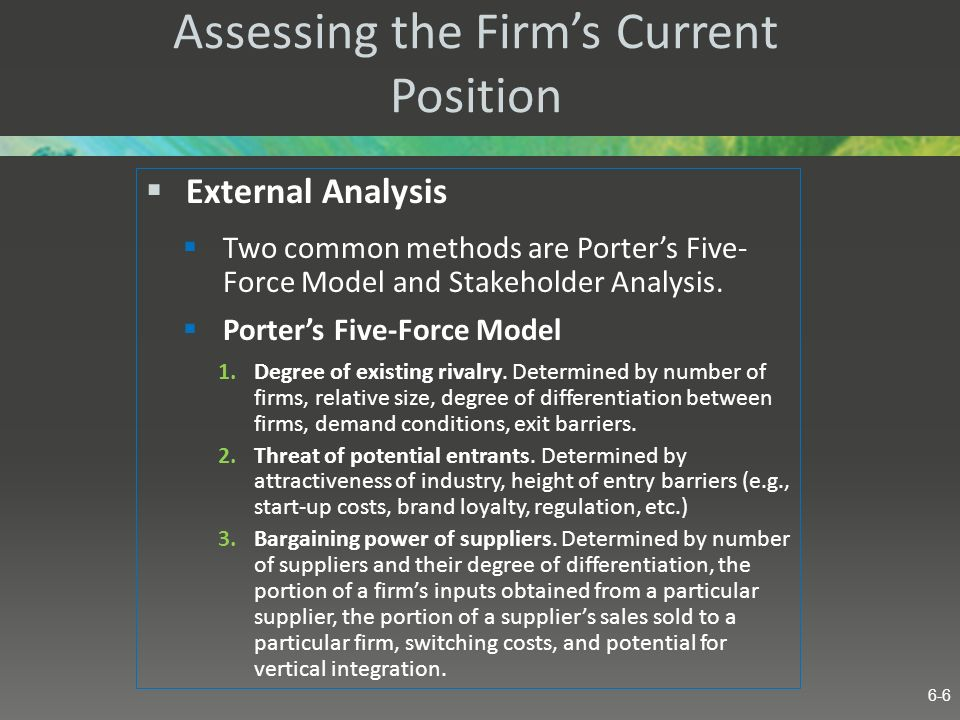 Assessing the Firm's Current Position