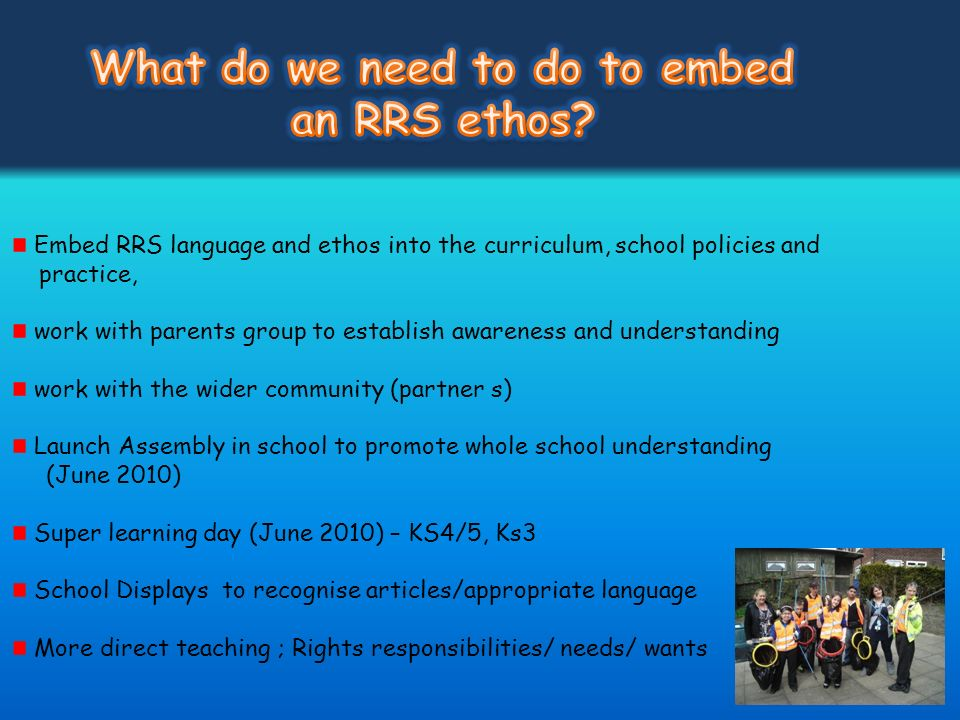 What do we need to do to embed an RRS ethos