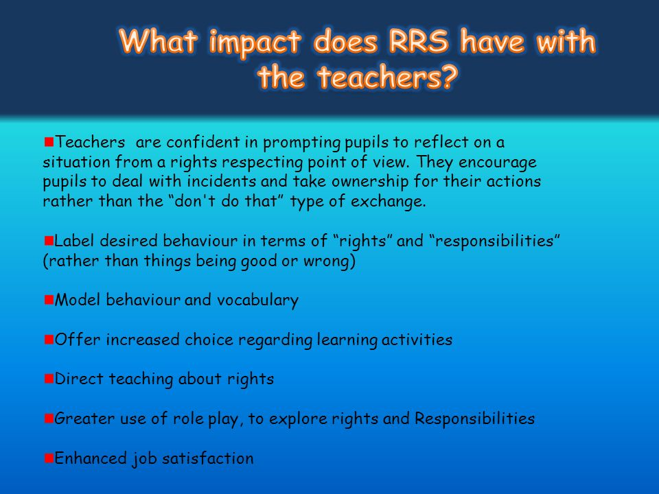 What impact does RRS have with the teachers