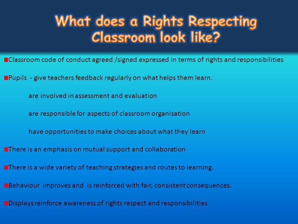 What does a Rights Respecting Classroom look like
