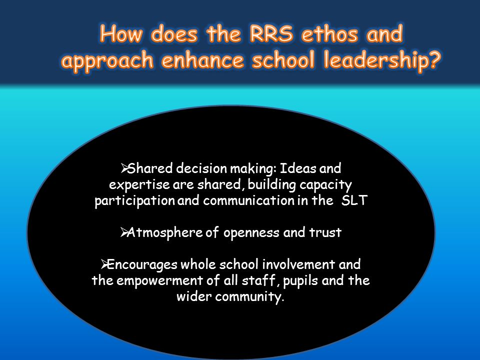 How does the RRS ethos and approach enhance school leadership