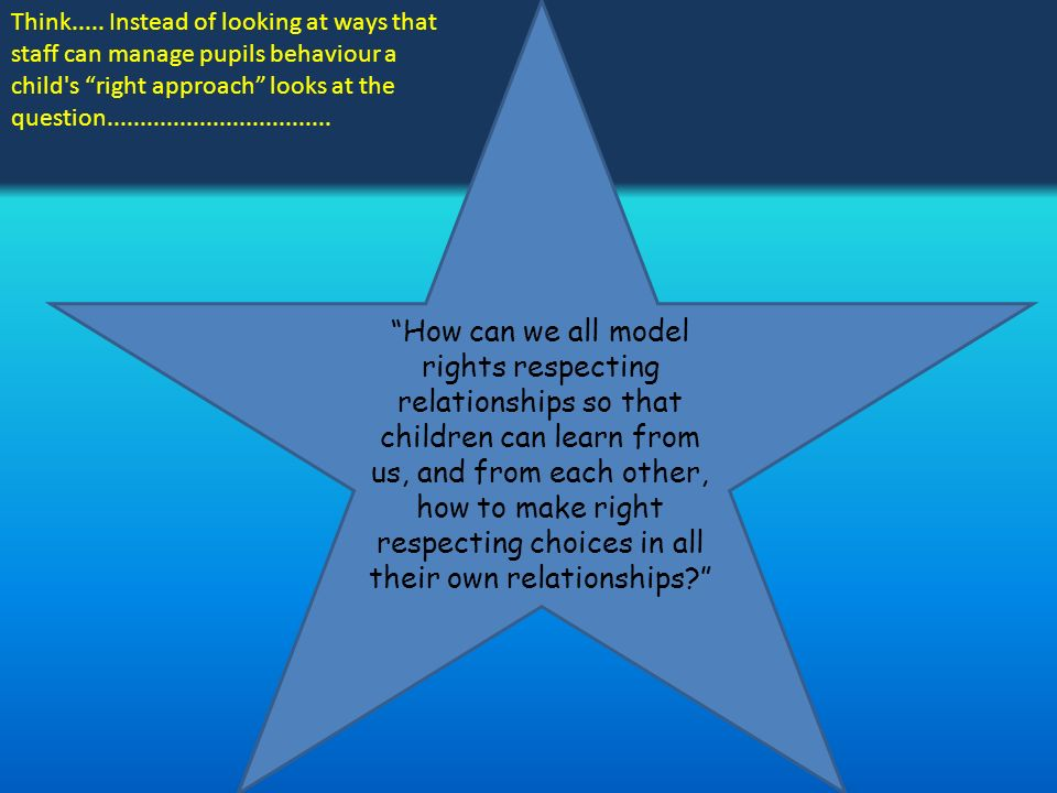 How can we all model rights respecting relationships so that children can learn from us, and from each other, how to make right respecting choices in all their own relationships