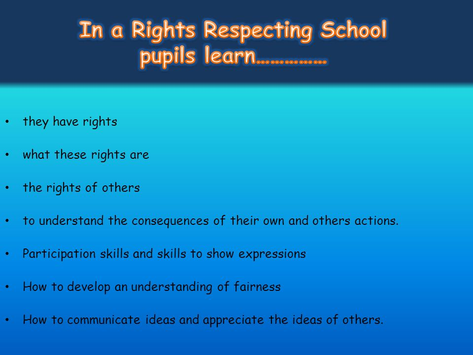 In a Rights Respecting School