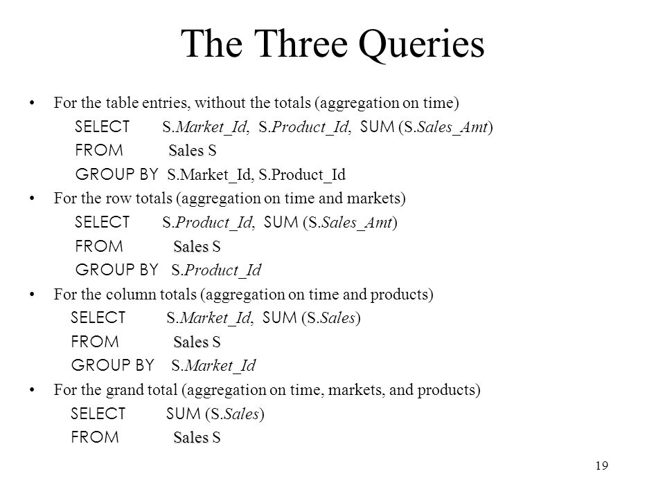 The Three Queries For the table entries, without the totals (aggregation on time) SELECT S.Market_Id, S.Product_Id, SUM (S.Sales_Amt)