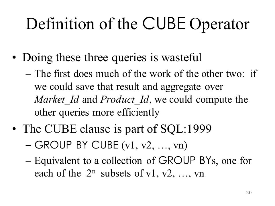 Definition of the CUBE Operator