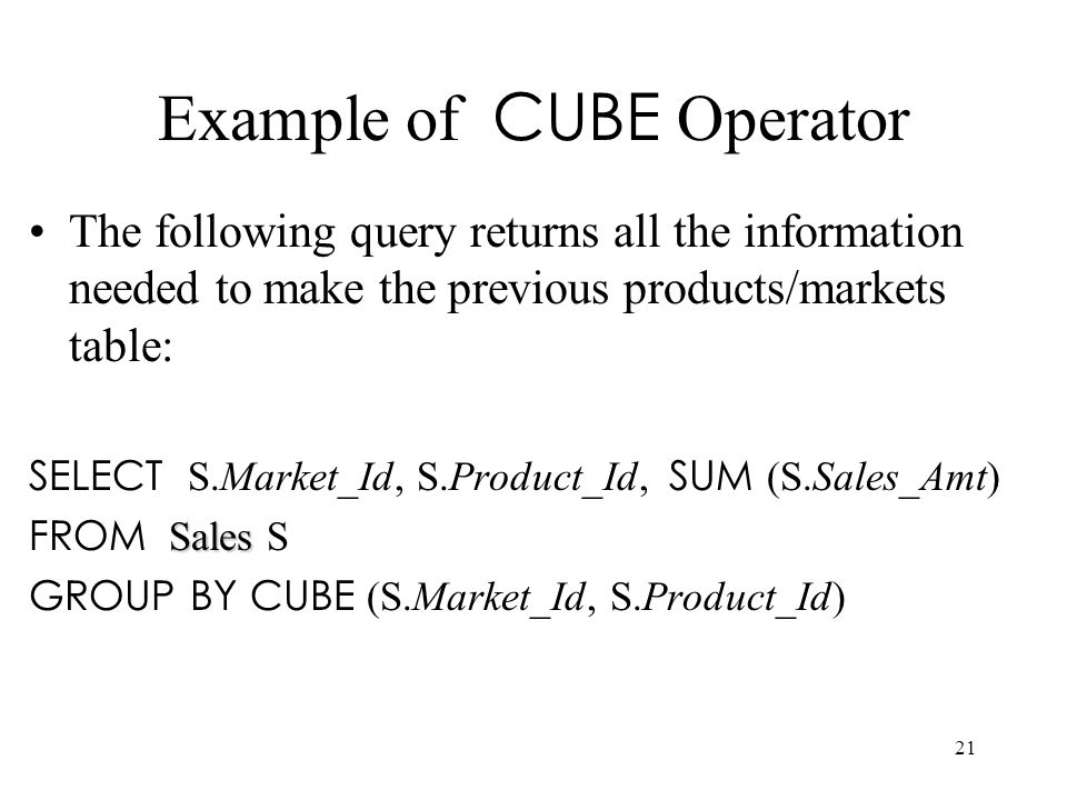 Example of CUBE Operator
