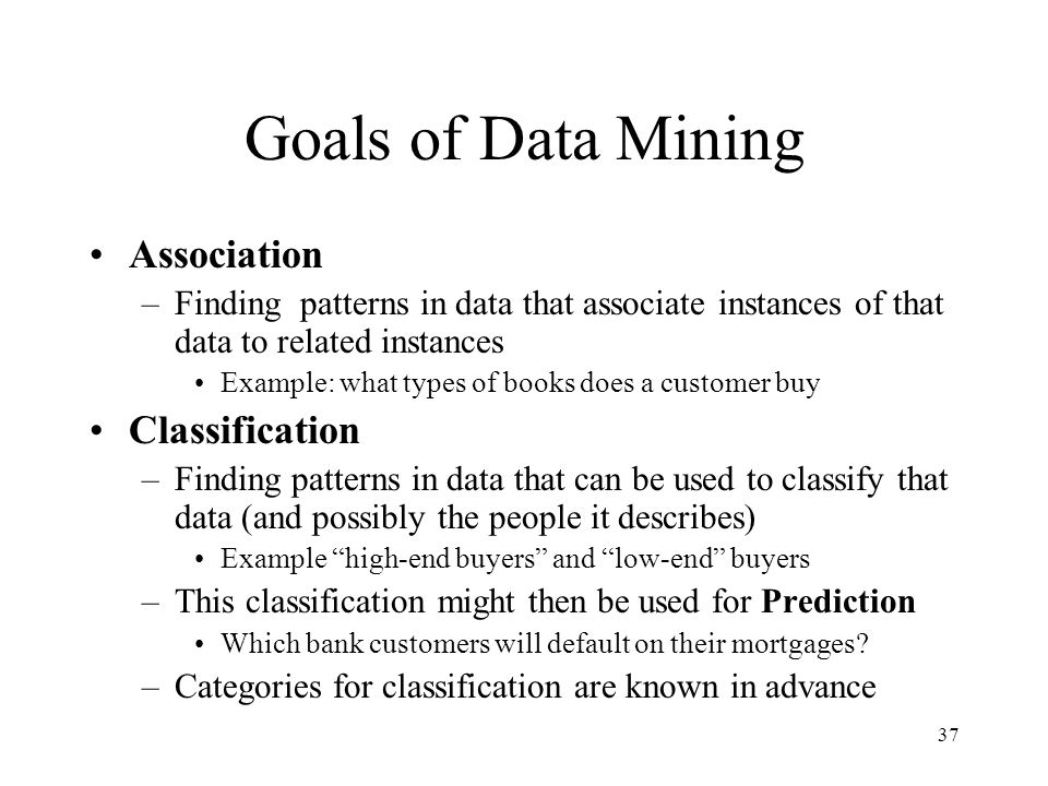Goals of Data Mining Association Classification