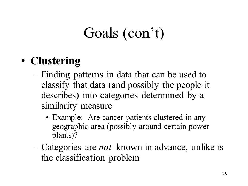 Goals (con't) Clustering