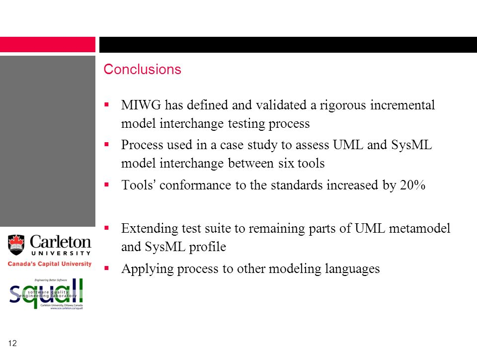Conclusions MIWG has defined and validated a rigorous incremental model interchange testing process.