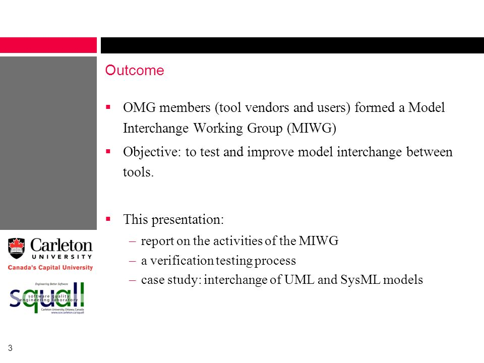 Outcome OMG members (tool vendors and users) formed a Model Interchange Working Group (MIWG)