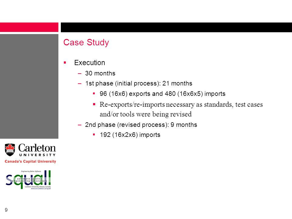 Case Study Execution. 30 months. 1st phase (initial process): 21 months. 96 (16x6) exports and 480 (16x6x5) imports.